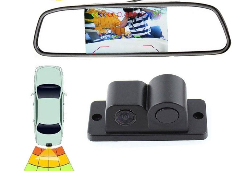 Retrovizor s ugrađenim ekranom i spojenom kamerom
