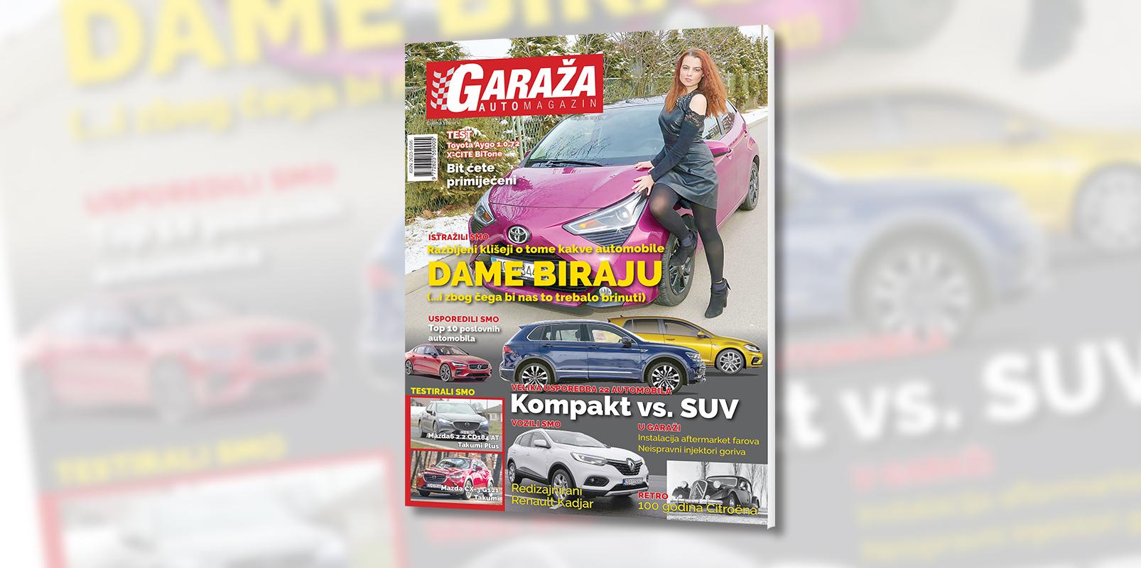 Nova GARAŽA je na svim kioscima: istražili smo kakve automobile žene zaista vole, usporedili 22 klasična kompakta i njihove SUV rivale, testirali dvije Mazde i jednu Toyotu